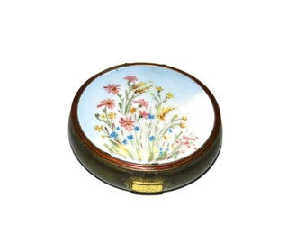 Flower Ceramic Compact, Vintage Compact, Powder Compact,