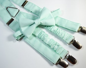 Mint bow tie and Suspender Set for baby/toddler/teen/adult/Men