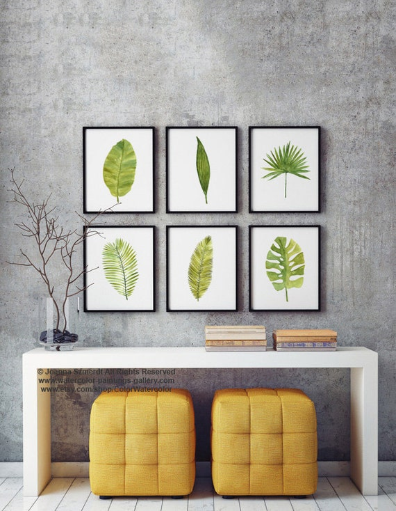 Palm leaf watercolor painting set 6 different palm tree for Green wall art