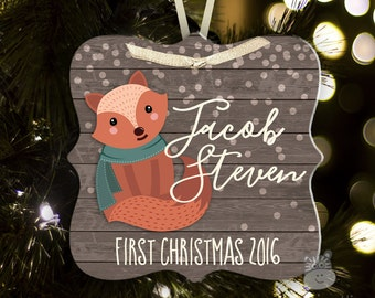 baby's first christmas ornament - fox woodland ornament personalize however you like FCLFO