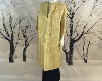 REDUCED 60s Gold Lame Brocade Evening Coat Opera Ultra Posh Swing Coat Ladies Large Fit Hollywood Chic Amazing Fabric Couture Design