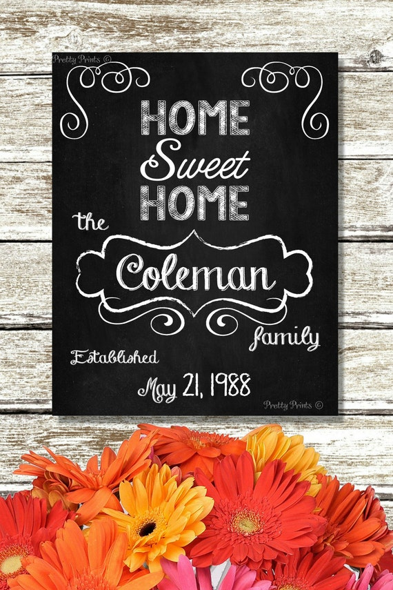 Personalized Family Name - Chalkboard Art - Digital Print - Home Sweet Home
