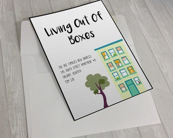 Living Out Of Boxes Moving Card/Moving Announcement Printable DIY/Moving Announcement Postcard/New Address Card/New Address Announcement
