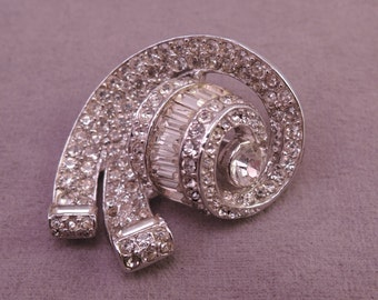 Gorgeous Rhinestone Encrusted Swirl Pin 1950-60s
