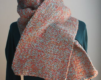 Scarf look woven, pink, blue and beige