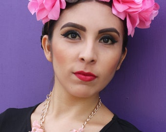 Pink Flower Crown Headband (Cinco De Mayo Costume Day fo the Dead Headpiece Sugar Skull Goth Gothic Catrina Floral Crown Rave)