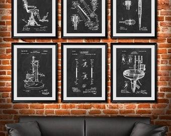 SET of 6 DENTAL Art Posters, Dentist Patent Illustration, Art Print or Canvas Wall Decor, Medical, Orthodontist, Dentist Gift - s63
