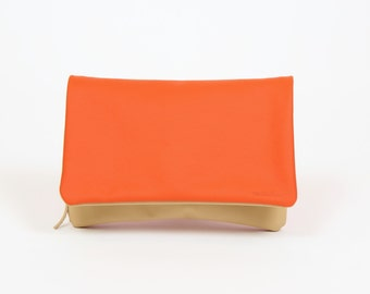 "Foldover clutch ""Gerda"" orange camel / / real leather"