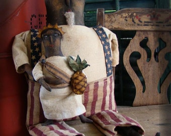 CraBByGaBBy Uncle Sam Holding Libby with Pineapple PATTERN