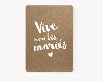 """Carte de félicitations """"Vive les mariés"""""""