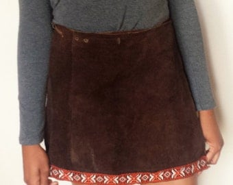 1970's Brown Suede Wrap Skirt