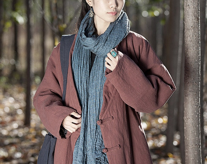 Cotton-padded linen coat - Long winter coat - Long sleeves coat - Chinese Style - High collar - Made to order