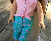 "18"" doll like American Girl flamingo print capri pants and coral pink tie front blouse"