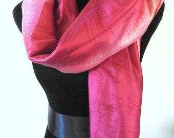 Vintage Old Rose Berry Pink Champagne Thai Silk Shawl Wrap Scarf Ombre Shadings Soft Wide Great Condition