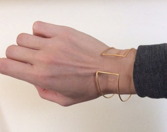 Gold double cuff, minimalist bracelet cuff, modern bracelet, statement bracelet, contemporary jewelry