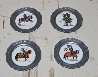 Vintage Ritter Pils (German Beer) Small Plates / Coaster - Pewter and Porcelain Saucers with Knights - Collectible Plates - Set of 4