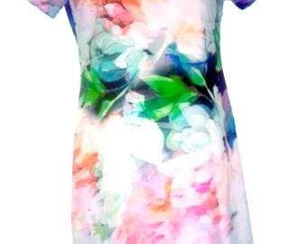 Floral Scuba Knit Dress - Impressionistic Mock Turtleneck with Short Sleeves