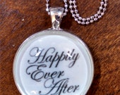 "HAPPILY EVER AFTER Hand-Crafted 30mm Sterling Silver Plated Newlywed Jewelry; Choose 18"" Necklace or Elegant Key Ring, Gift Box Option"