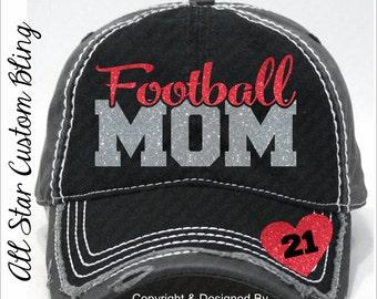 Glitter Football Mom Hat, Football Mom Distressed Hat, Mom Football Hat, Custom Football Hat, Personalized Football Mom Hat