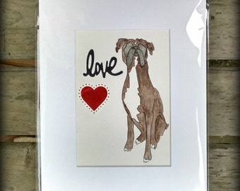 Boxer Dog Love-Original Watcolor-Boxer Heart Love watercolor-limited edition-dark brown fawn