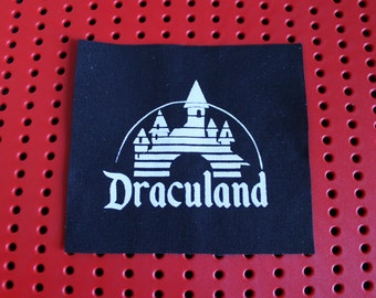 "Draculand ""disneyland"" parody cloth horror punk patch in White on Black"