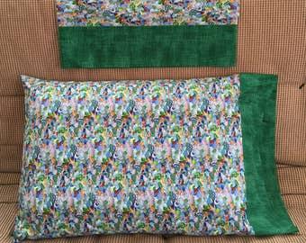 Sea Glass Pillowcase // Cotton Pillowcase // Handmade Pillowcase // Standard Pillowcase // Green Trim // Seaglass Pillowcase // Ocean