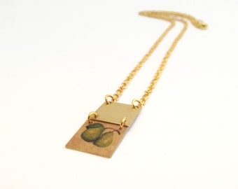 Necklace gold geometric two squares pears fruit - handmade