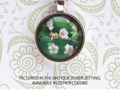 Blossom Necklace - botanical flower jewelry, 1 inch pendant on chain, photo art necklace, metal color options available