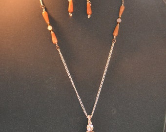 Celtic wire braided stone necklace