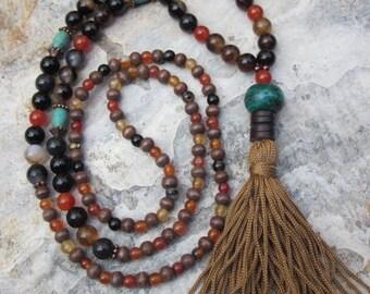 long beaded tassel necklace agate necklace wooden beads boho necklace artisan mens mala women's necklace bohemian wood stone beaded necklace