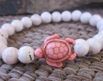 turtle bracelet bohemian bracelet pink stone sea turtle  pale pink stone bracelet yoga accessories  stretch stacking beach turtle bracelets