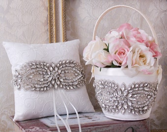 Ring Bearer Pillow, Flower Girl Basket, Wedding Basket and Pillow Set, White or Ivory Ring Pillow