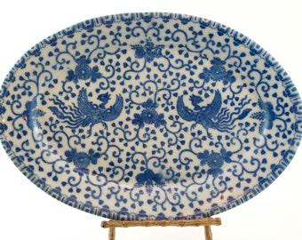 Antique Phoenix or Flying Turkey Oval Platter, Nippon
