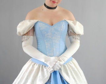 Cinderella Inspired Overbust Steel Boned Corset Ball Gown Costume - Adult
