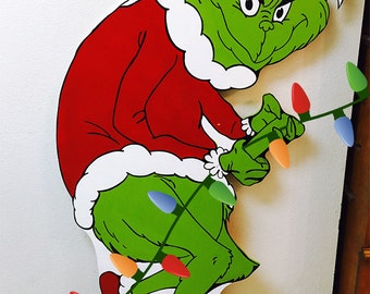 Grinch stealing christmas lights photo prop standee cut out grinch