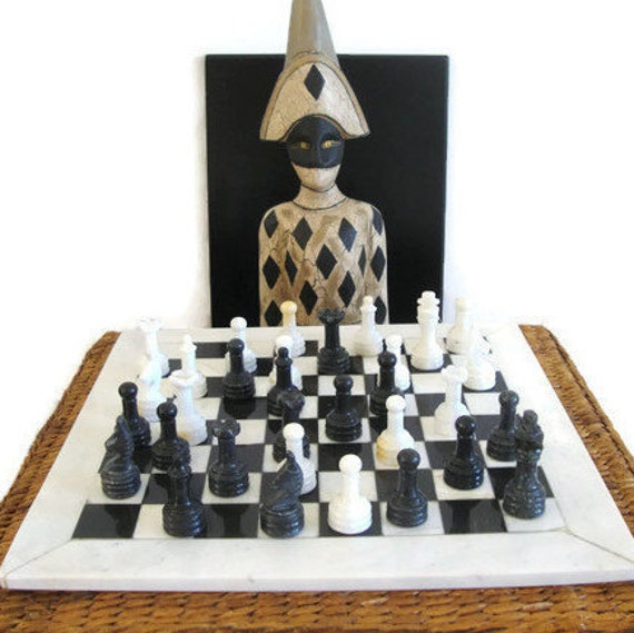 Marble chess set black and white marble chess board and - Granite chess pieces ...