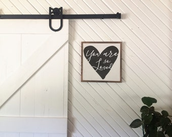 You are so loved heart framed wood sign art 15x15