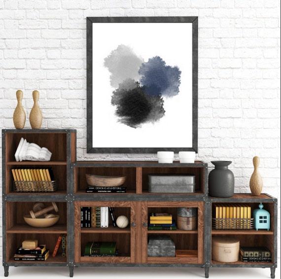 Modern Minimalist Art, Abstract Printable Wall Art, Modern Art Abstract, Contemporary Art, Black, Gray, Navy Blue, Circles, Modern Printable