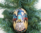 Southwestern Hand-painted Gourd Christmas Ornament with Turquoise Stone #519 Eagle