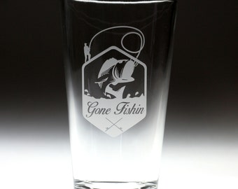 Custom personalized Gone Fishing  engraved glass , fishing gift , dad gift , granpa gift , christmas gift , fathers day gift