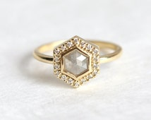 Hexagon Diamond Ring, Rose Cut Diamond ring, Grey Rose Cut Diamond Engagement Ring, Halo Diamond Ring,