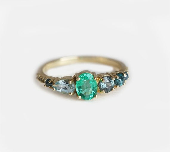 emerald engagement ring emerald cluster ring cluster