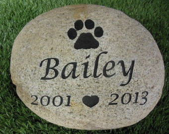 """Personalized Pet Memorial Grave Marker Headstone Dog Cat 10"""" to 12""""   PNDH"""