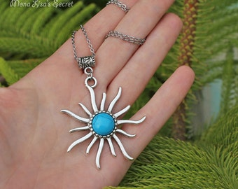 Turquoise Sun Necklace, Blue Sky Howlite Sun Pendant on Chain, Blue Celestial Necklace, Sun Pendant Necklace, Mother's Day gift