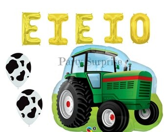 Farm Tractor Balloons Cow Print Balloons, Kids Farm Party Balloons, Tractor Party Balloons