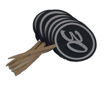 Black & White 30 Cupcake Toppers, Set of 12