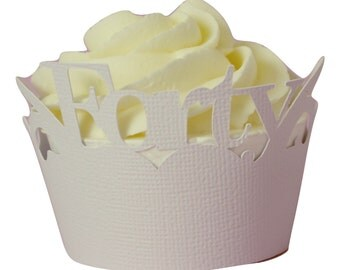 White Forty Cupcake Wrappers,  Set of 12, Birthday, White Texture, Cupcake Decor, Handcrafted Party Decor, Party Supplies
