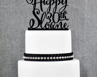 Custom Happy Birthday with Name Topper, Birthday Number and Name Cake Topper, Elegant Happy Birthday Cake - (T187)