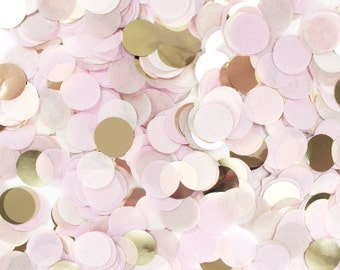 """Tissue Paper Confetti - Blush Pink & Gold - Metallic Champagne Ivory Rose - 1"""" Circle One Inch ..."""