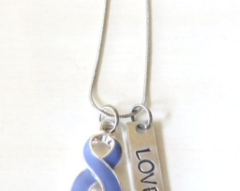 Periwinkle Customizable Awareness Ribbon Stainless Steel Charm Necklace with Optional Add On Charms